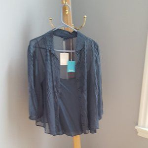 NWT Boden teal sheer polka dot blouse w cami